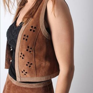 Vintage suede leather hippie vest and skirt set